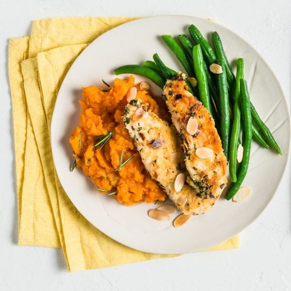 Almond Crumbed Chicken with Pumpkin Mash and Green Beans