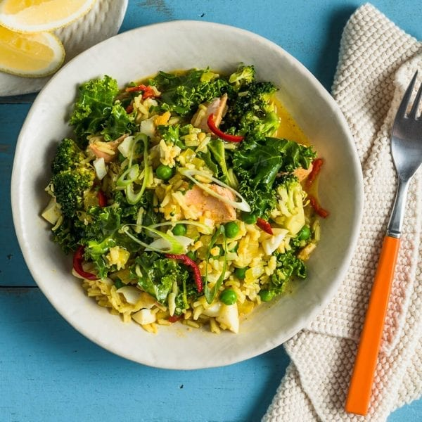 Kedgeree with Salmon, Flathead and Brown Rice